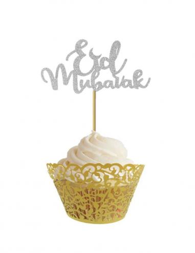 Piques à gâteau argenté Eid Mubarak