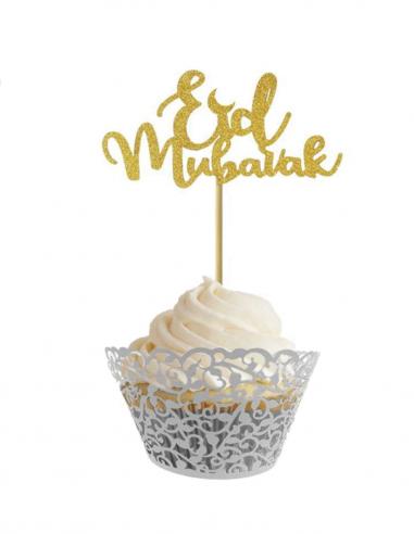 Piques à gâteau doré Eid Mubarak
